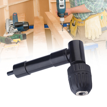 цена на 90 Degree Right Angle Keyless Chuck Impact Drill Adapter Electric Power Cordless Drill Attachment Angle Adaptor 8mm Hex Shank