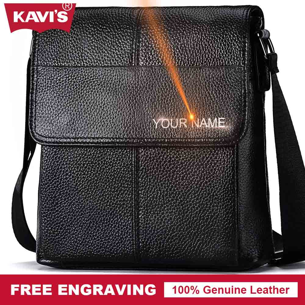 KAVIS Messenger Bag Men's Shoulder Bag Genuine Leather Handbag Bolsas Crossbody Sling Tote Briefcase Male for Ipad Small Chest vktery handbag men satchel pu leather male messenger crossbody bag business solid brown tote briefcase sling shoulder bags 3021
