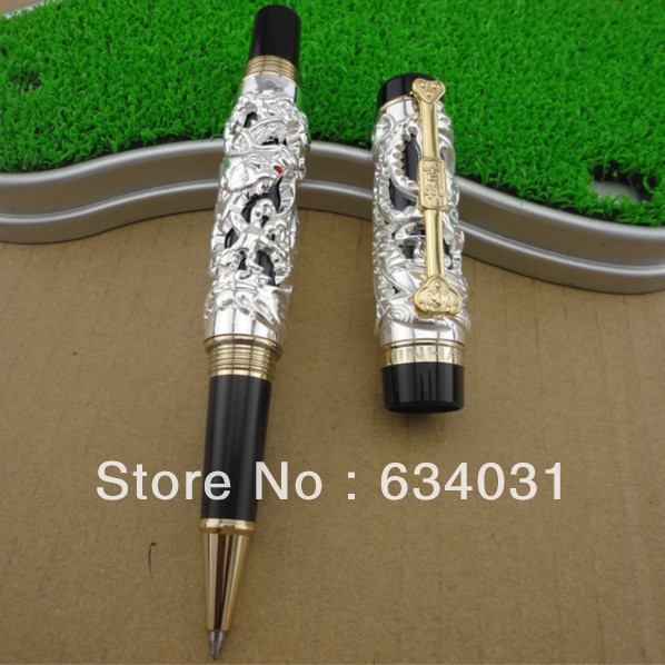 Advanced  Roller Ball Pen Jinhao Chinese Dragon Bronze White with Black Heavy Gife pen jinhao ancient dragon playing pearl roller ball pen with jewelry on top with original box free shipping
