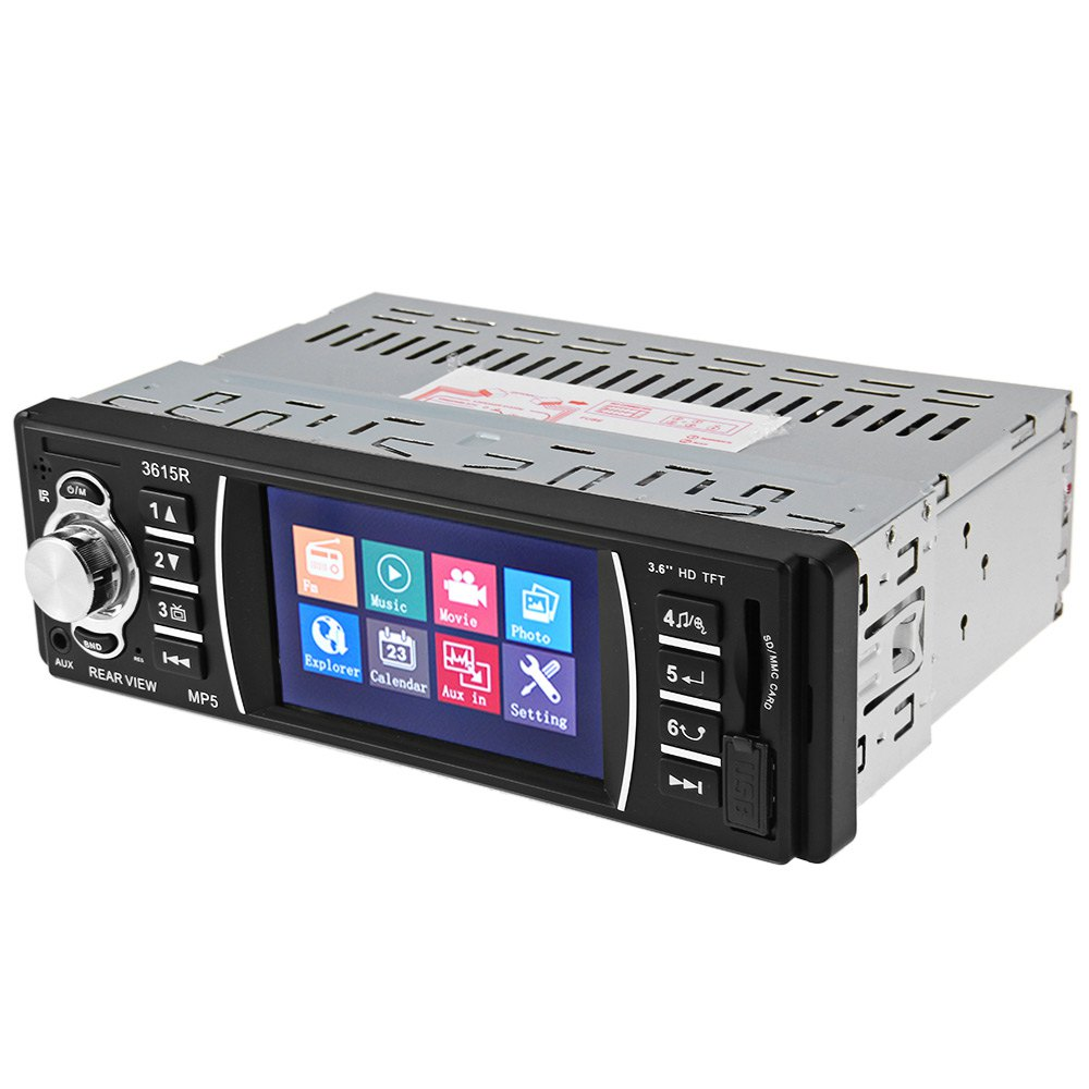 3615R 3.6 inch TFT Screen 12V Car Radio Audio Stereo Rear View Camera MP5 USB SD AUX In Player with Remote Control FM Audio