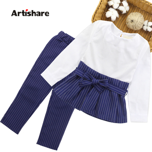 Girls Clothes Set Patchwork Shirt Dress + Striped Pants Children Clothing Spring & Autumn Kids Teen Clothes For Girls 8 10 11 12(China)