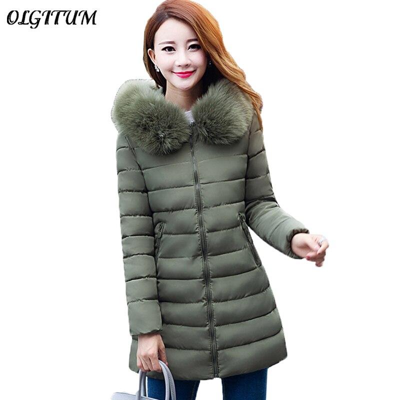 Plus Size XL-7XL 2019 New   Parkas   Women Winter Artificial Big Fur Collar Hooded Coat Thicken Warm Long Outwear Female Slim Jacket