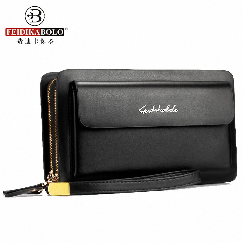 FEIDIKABOLO Brand Men Wallets Double Zipper Leather Wallet Men Coin Purse Business Men Wallets Man Clutch Handy Bags Portomonee