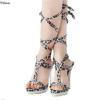 Olomm Women Platform Gladiator Sandals Stiletto High Heels Sandals Open Toe Sexy Leopard Party Shoes Women US Plus Size 4-15 фото