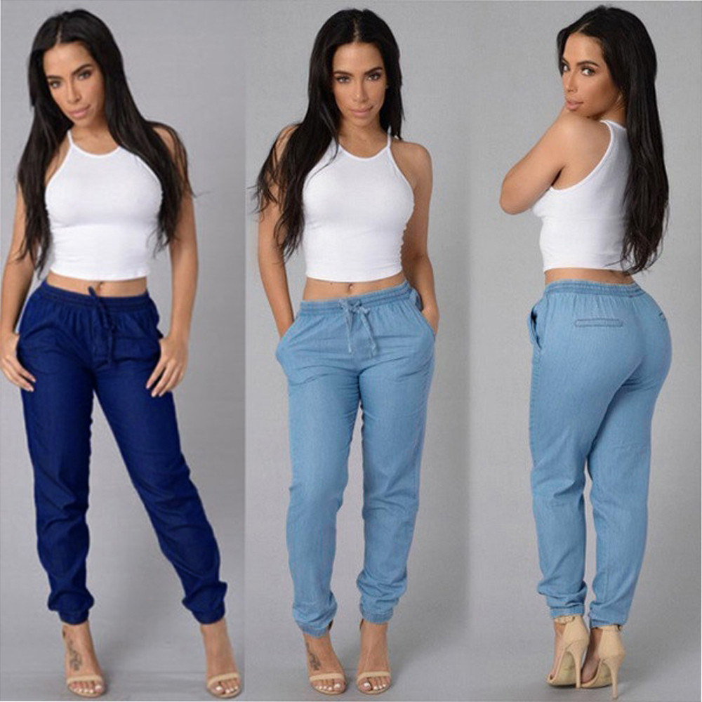 Women Stretch Embroidered Flares   Jeans   for women With High Waist Elasticity Plus Size Back Stripe Blue Denim Pencils Pants Casua