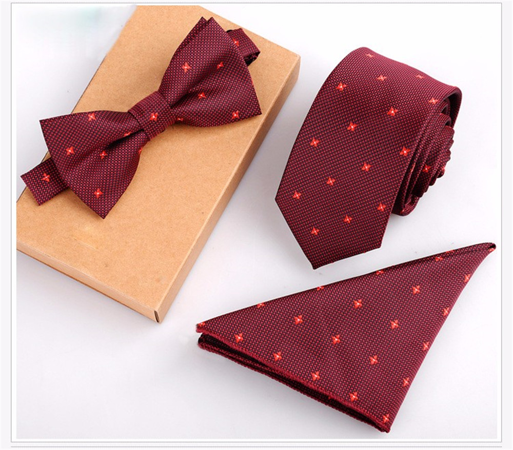 Cityraider Brand Gravata New Red Stars Silk Ties For Men Neckties Bow Tie And Pocket Square With Necktie Match 3pcs Set Ld100