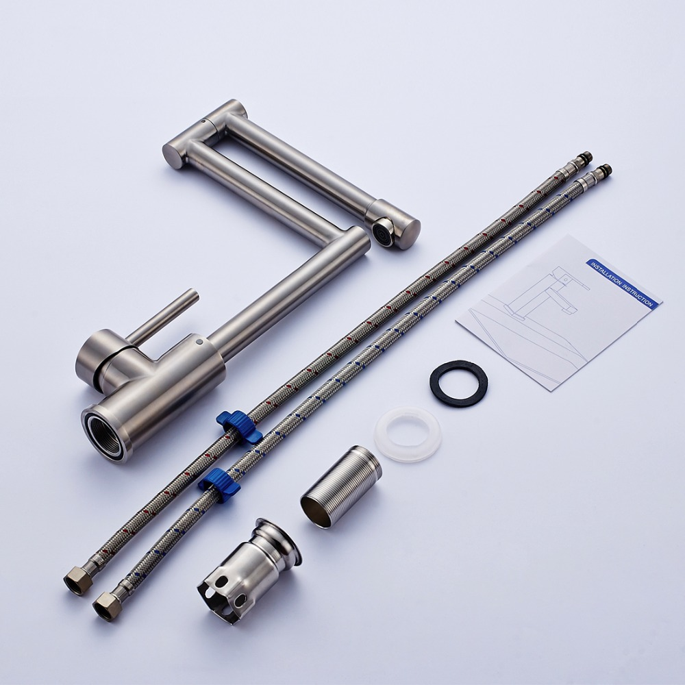 Fapully 304 нержавеющая сталь горшок наполнитель кухонные смесители вращающийся кухонный кран складной с одной ручкой Смеситель кран 195 33N - 6