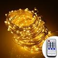 Luz Branca quente 20 M/30 M/50 M 200/300/500 LEDs de Prata fio de Luz LED String Luzes Estrelado + Adaptador de Alimentação + Remoto controle
