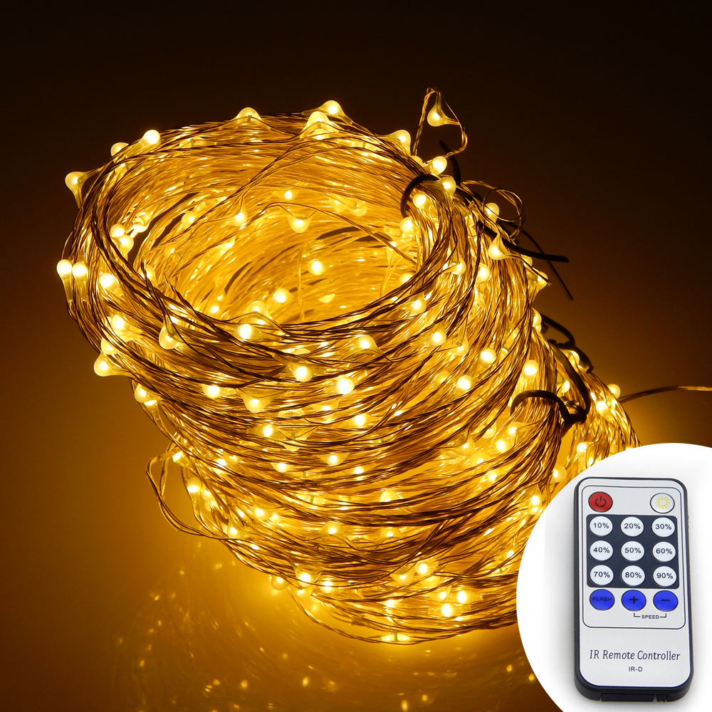 Image 3 - Warm White Light 20M/30M/50M LED Silver Wire String Lights Holiday Decorative Starry Lights + Power Adapter + Remote Control-in LED String from Lights & Lighting on AliExpress