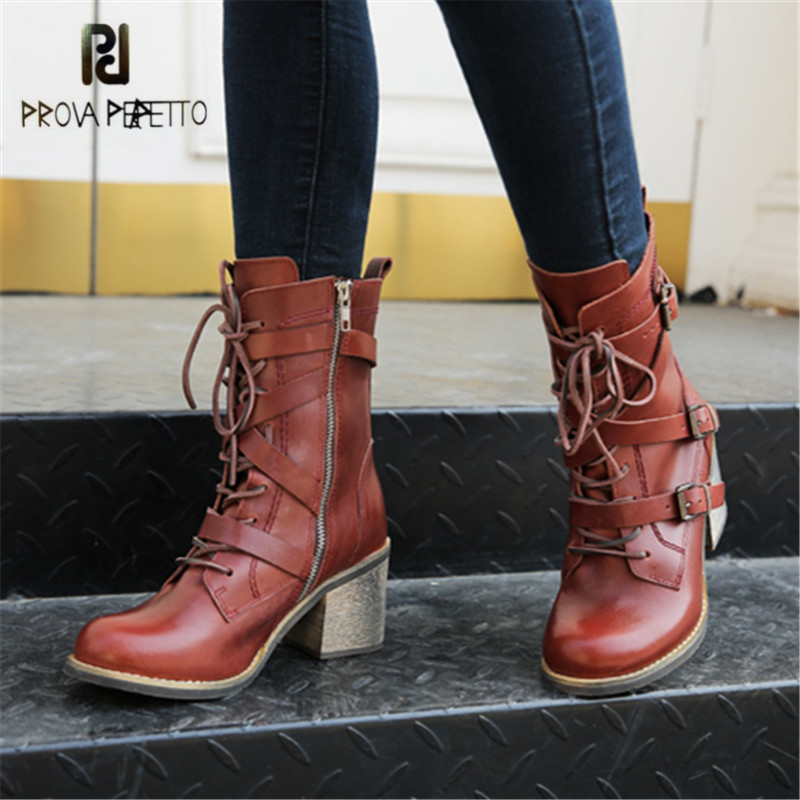 Prova Perfetto Punk Style Genuine Leather Women Ankle Boots Straps High Heel Shoes Female Autumn Winter Platform Martin Boots ankle strap martin boots pointed ends genuine leather boots thin heel women ankle boots fashion punk style winter boots