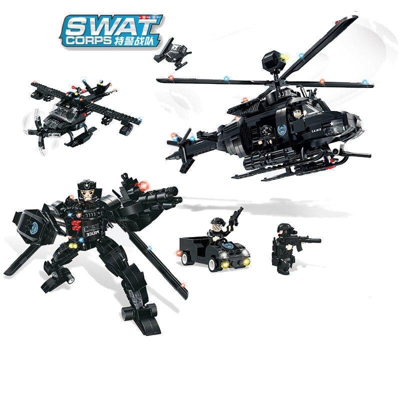 773pc blocchi di costruzione Per Bambini giocattolo Compatibile Legoingly città SWAT Serie 3 in 1 Deformazione regalo di Aerei Da Ricognizione Armata-in Blocchi da Giocattoli e hobby su  Gruppo 1