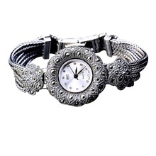 Hot Sale Top Women Sunflower Style Pave Marcasite Thai 925 Silver Wrist Watches Flowers Watch Real Pure Silver Bracelet