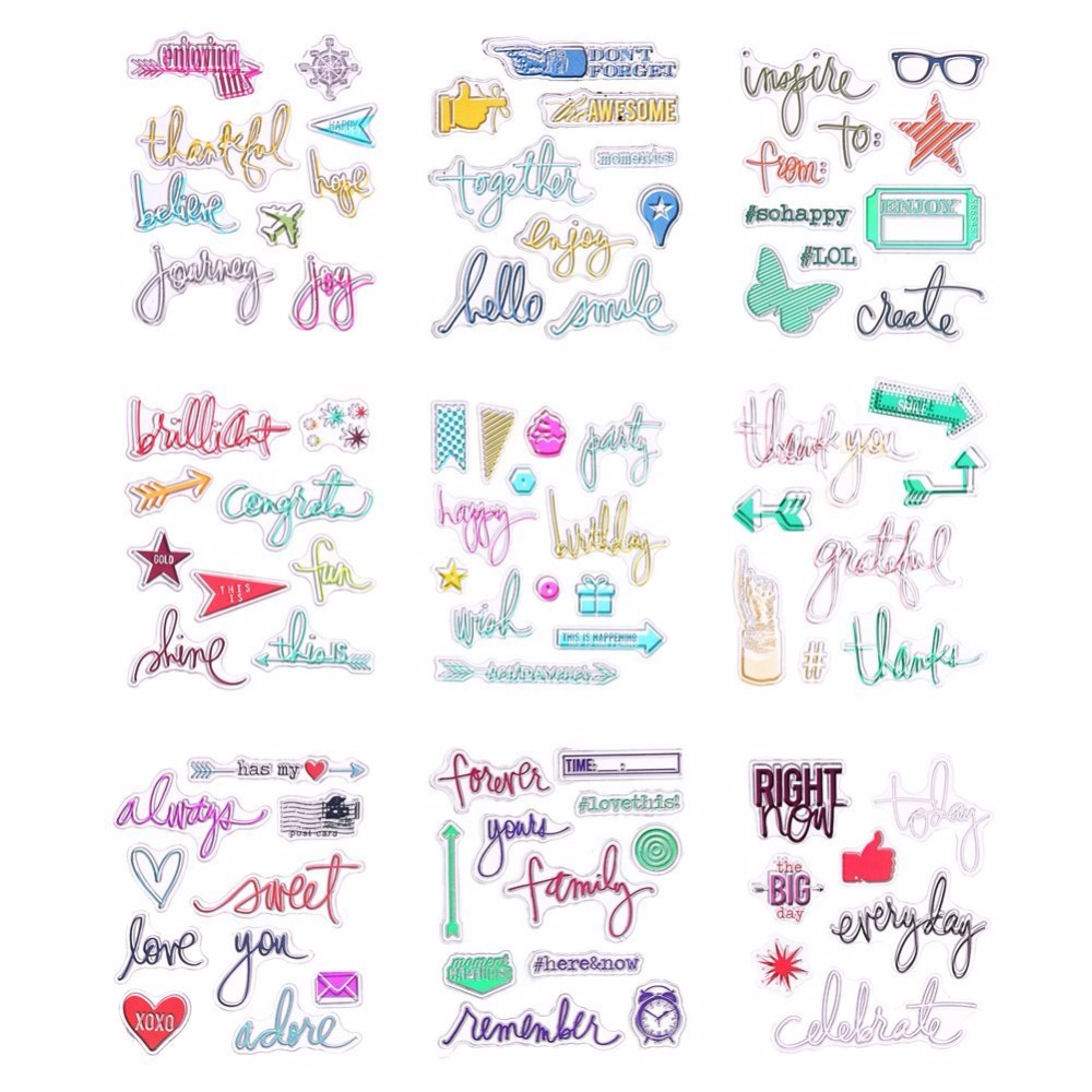 Clear Rubber Stamp Mulitcolor Alphabet Transparent Stamp DIY Scrapbooking Card Making Decoration Supplies
