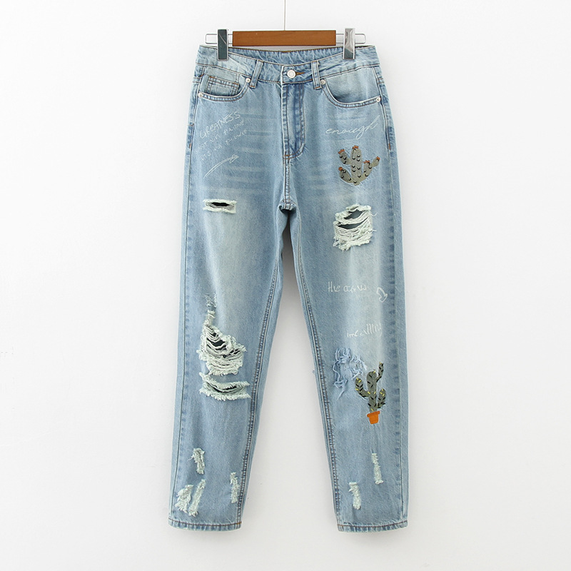 Vintage Ripped Hole Boyfriend Jeans Women Chic Cactus Embroidery Letter Print Mid Waist Slim Fit Harem Ladies Washed Denim Pants boyfriend jeans women ankle length washed denim summer vintage hole ripped letter embroidery harem pants female casual streetwea