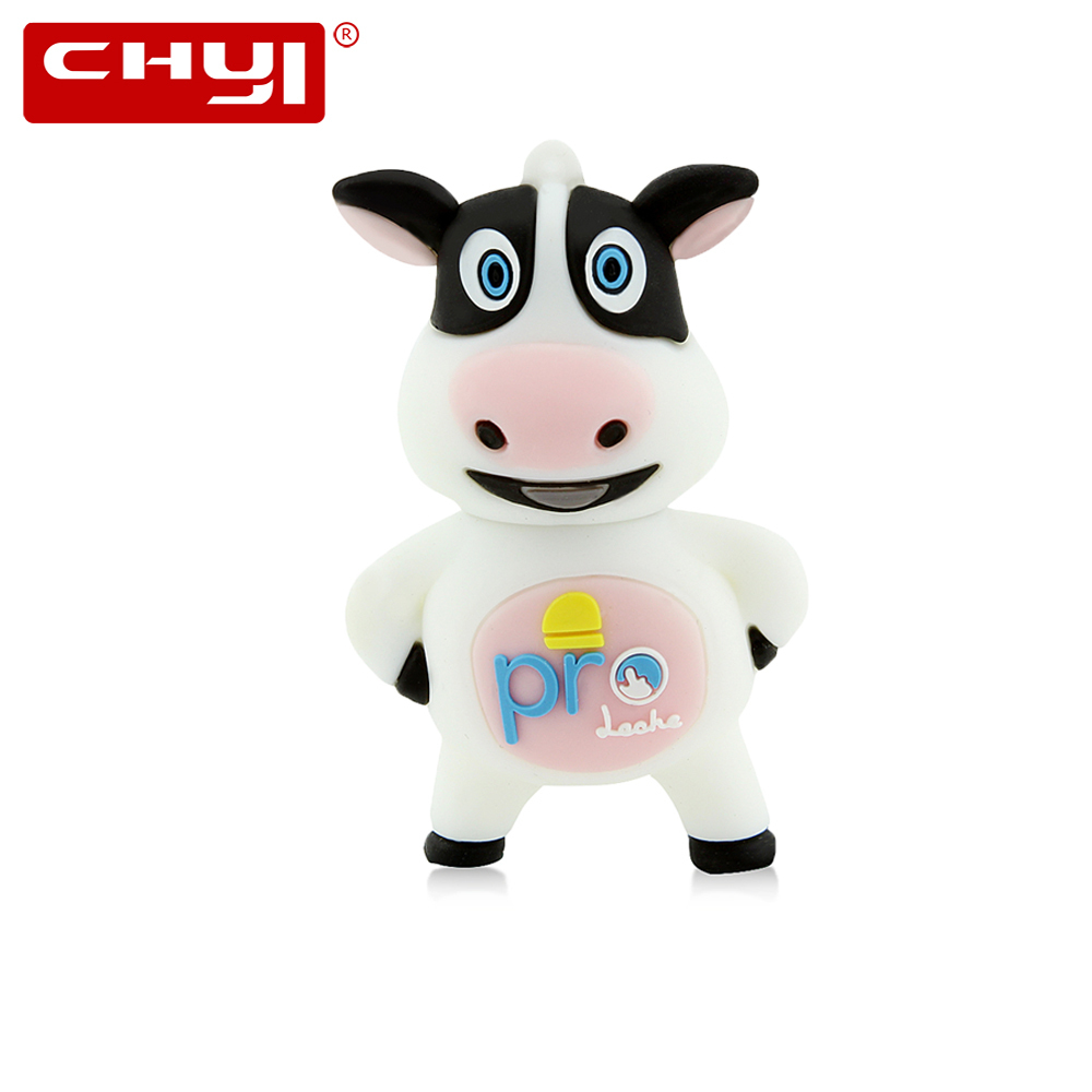 CHYI Cartoon Dairy Cow USB Flash Drive Cute Pen Driver 4gb 8gb 16gb 32gb 64gb Pendrive Animal Memory Stick U Disk For Best Gift