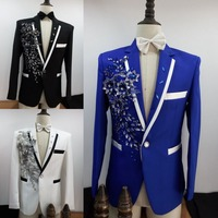 Free Shipping Mens Royal Blue Black White Sequin Flower Beading Embroidery Tuxedo Jacket Stage Performancen Jaceket