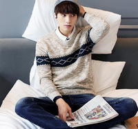 Men S Vintage Pullover Sweater Winter New Trend Of The Contrast Color Crew Neck Long Sleeve
