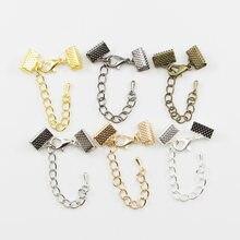 61bf8f46cfff 10 piezas cinta cuero cordón final cierre cierres extensor de cadena  langosta cierres conectores para la