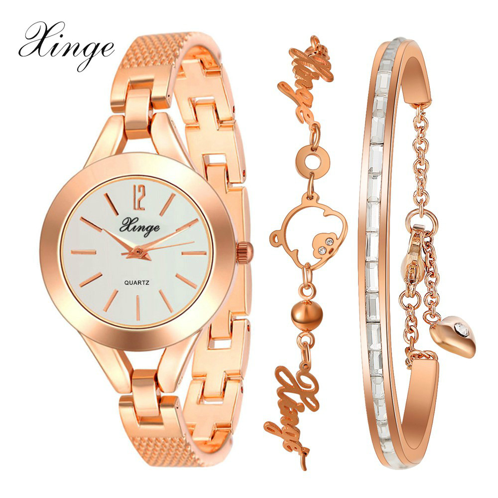Xinge Brand Quartz-Watch Women Bracelet Pig Pattern Jewelry Watch Set Wristwatch Waterproof Fashion Popular Women Bracelet Watch xinge brand watch women bracelet rhinestone chain bangles jewelry watch set wristwatch waterproof ladies gold quartz watch