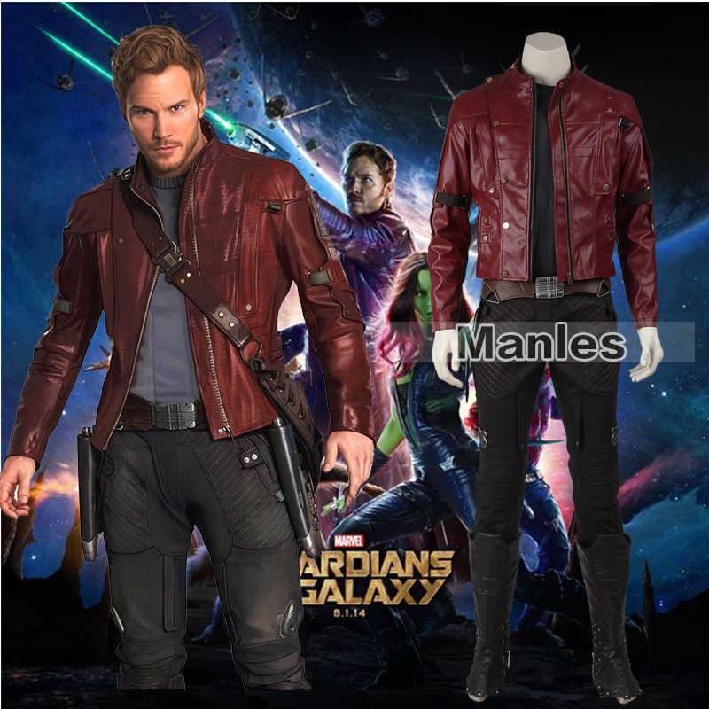 Guardians of The Galaxy Star-Lord Peter Quill Cosplay Traje Homens Adultos Traje de Halloween do Conjunto Completo de Roupas Personalizadas Aceitáveis