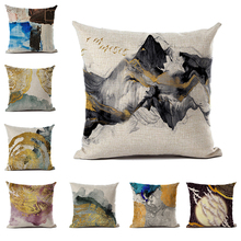 Abstract Cushion Cover Ink Mountain Peak Birds Pattern Pillowcase for Sofa Car Modern Home Decor Accessories modern style leaves ink painting pattern square shape pillowcase