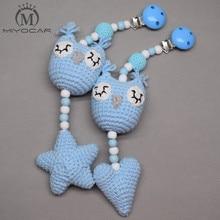 MIYOCAR handmade wood clip cream Crochet heart and owl stroller toy chain for pram mobile rattle wooden bead crochet