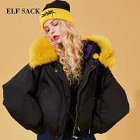 ELFSACK Women 90% White Duck Down Coat with Real Fox Fur Collar,Winter Fashion Short Black Jacket,Warm Bomber Outwear