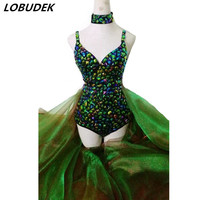 Зеленый Стекло Diamond Bodysuit высокого класса бар DJ DS костюм леди певица хост вечерние празднование этап наряд производительности Подиум одежда