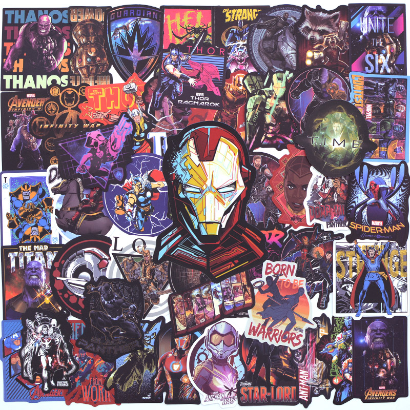 50 PCS Avengers Stickers For Luggage Laptop Phone Skateboard Cool Super Hero Sticker Bike Motorcycle Car Fridge Bomb JDM Decal
