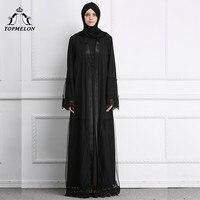 TOPMELON Elegant Bangladesh Dubai Abaya for Women Black Lace Maxi Muslim Dress Robe Musulmane Open Abayas