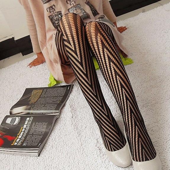 Fashion Womens Lady Girls Black Sexy Fishnet Pattern Jacquard Stockings Pantyhose Tights Styles Woman 1pcs dww07