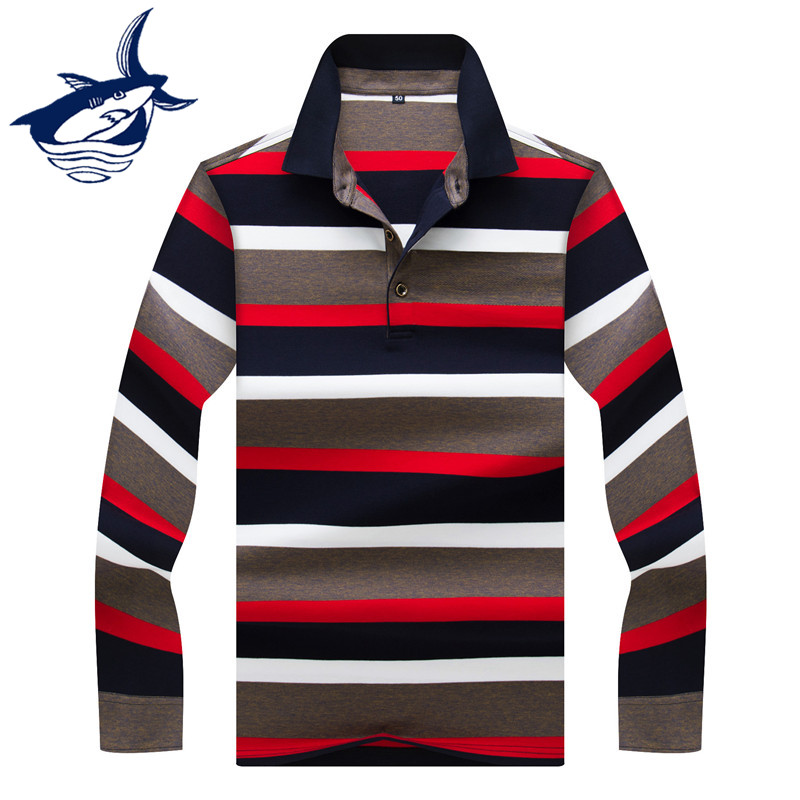 Striped Casual Men   Polo   Shirt 3D Embroidery Cotton Long Sleeve Tace & Shark brand   polos   shirts para hombre 2019 Fashion Men Tops