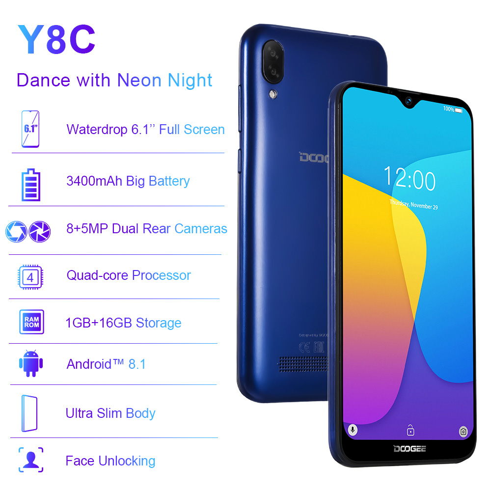 Image 5 - Original DOOGEE Y8C Android 8.1 6.1inch Waterdrop Screen Smartphone MTK6580 Quad Core 1GB RAM 16GB ROM  Dual SIM 8MP+5MP WCDMA-in Cellphones from Cellphones & Telecommunications