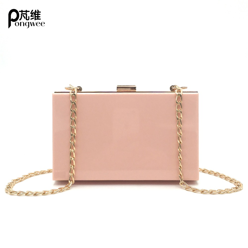 PONGWEE Evening Bag Classic Acrylic Women Clutch Shoulder Messenger Ladies Small Square Package Clear Plastic Bags in Shoulder Bags from Luggage Bags