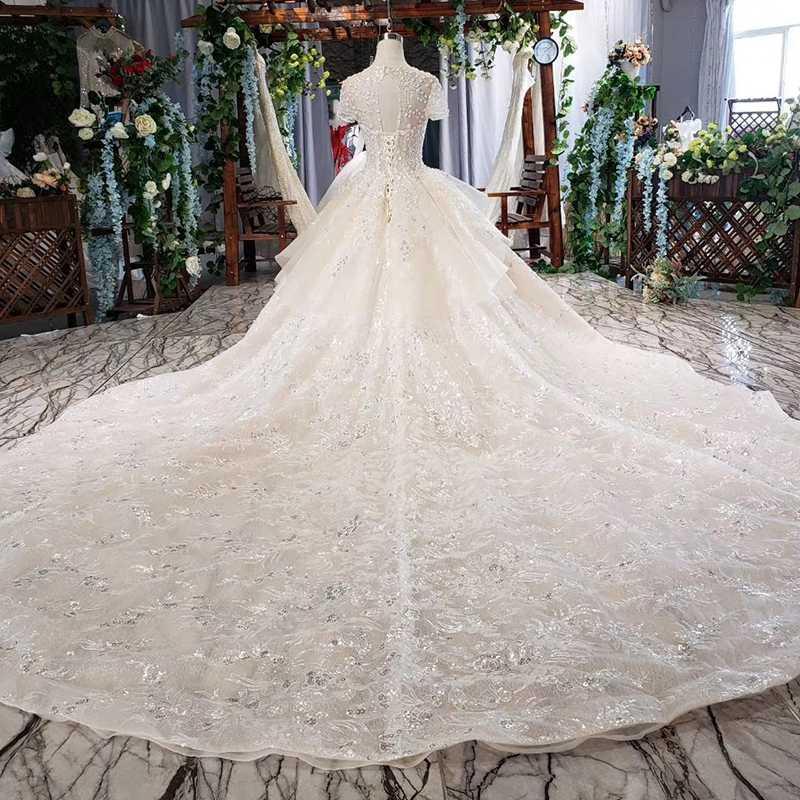 HTL636 luksusowa suknia ślubna z kryształu i rękawy illusion o-neck lace up powrót suknia panny młodej sukienka długi vesrido de noiva sereia