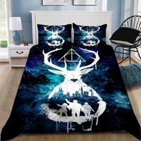 Home Textiles 3PCS 3D Harry Potter Cartoon Design Digital Printing Bedding Set Duvet Cover Pillowcase Dropshippig blue boy gife