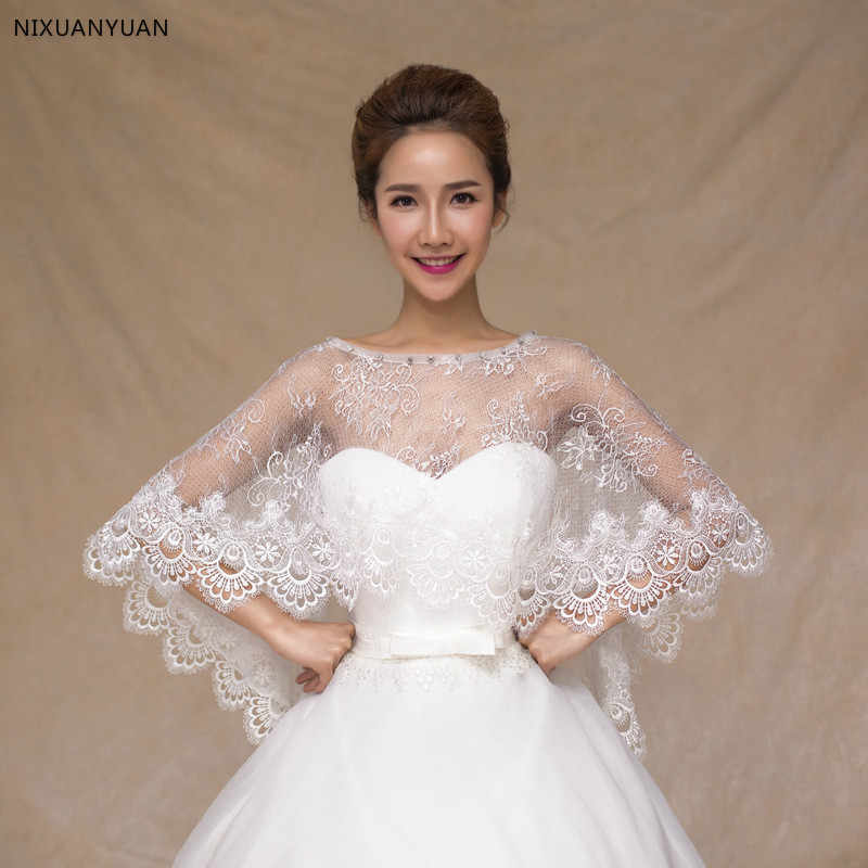Ivory Lace Bridal Bolero 2017 Wedding Bolero Women Shawl Evening Capes Short Bridal Wrap Wedding Accessories Wedding Jacket
