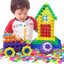 400 шт./лот, 3D головоломка, пластиковая Снежинка, строительство, креативные Детские хлопья, блокировка, набор пластиковых дисков, строительные детские игрушки