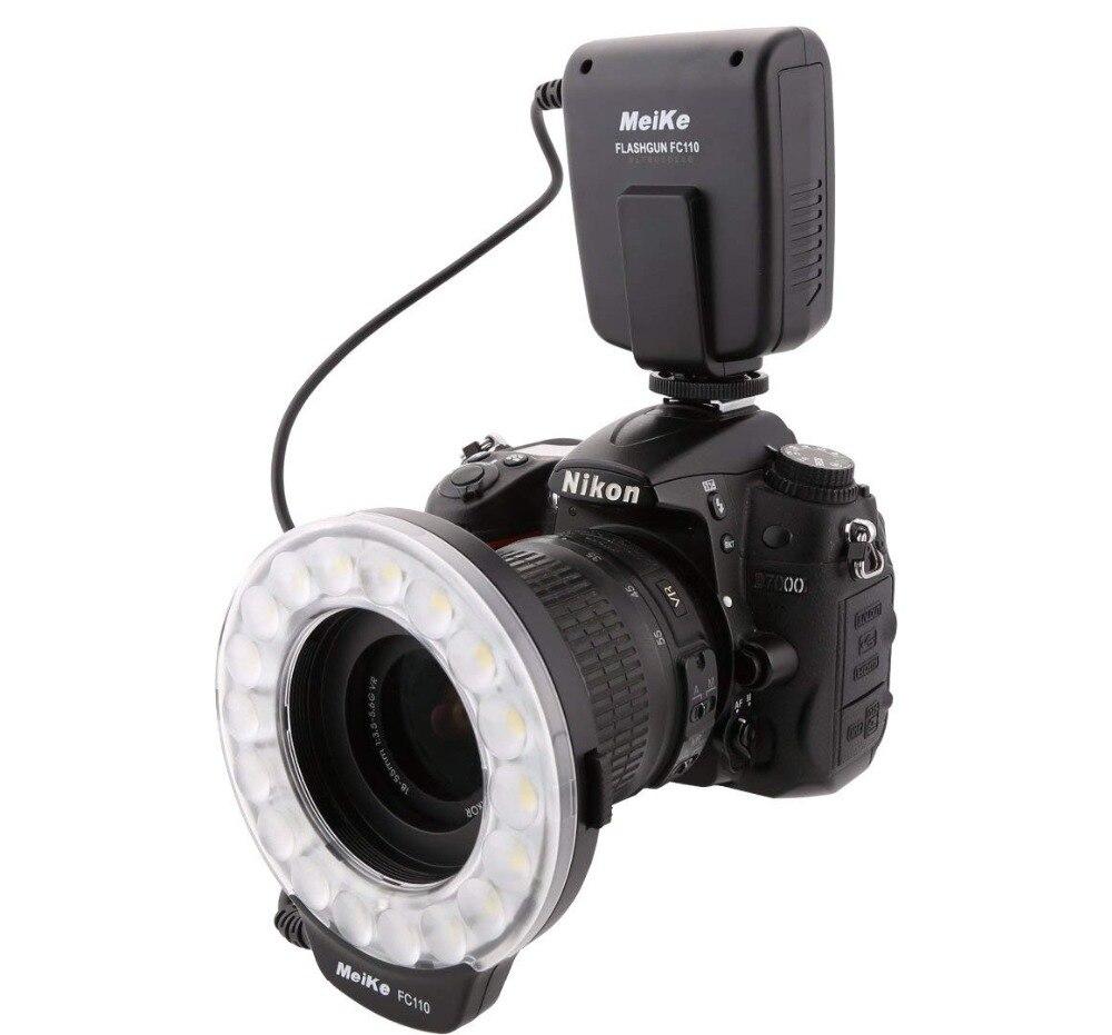 Meike FC 110 FC110 LED Marco แหวนแฟลชสำหรับ Nikon D7100 D7000 D5300 D5200 D5100 D5000 D3100 D3000 D600 กล้อง DSLR-ใน มาโครและไฟวงแหวน จาก อุปกรณ์อิเล็กทรอนิกส์ บน AliExpress - 11.11_สิบเอ็ด สิบเอ็ดวันคนโสด 1