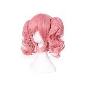 Image 3 - HAIRJOY Woman różowa peruka do Cosplay średniej długości żaroodporne włókno syntetyczne z 2 zdejmowanymi falistymi kucykami darmowa wysyłka