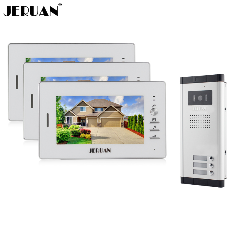 JERUAN Apartment 7 inch Video Intercom Door Phone Entry System 3 Monitors + 1 Doorbell Camera for 3 house IN Stock FREE SHIPPING wired 7 video door phone intercom doorbell entry system 2 monitors villa house waterproof camera in stock free shipping