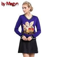 От Megyn женские комплекты из двух частей 2018 осенний Рождественский пуловер вязаный кашемировый свитер с v образным вырезом и мини черная юбка