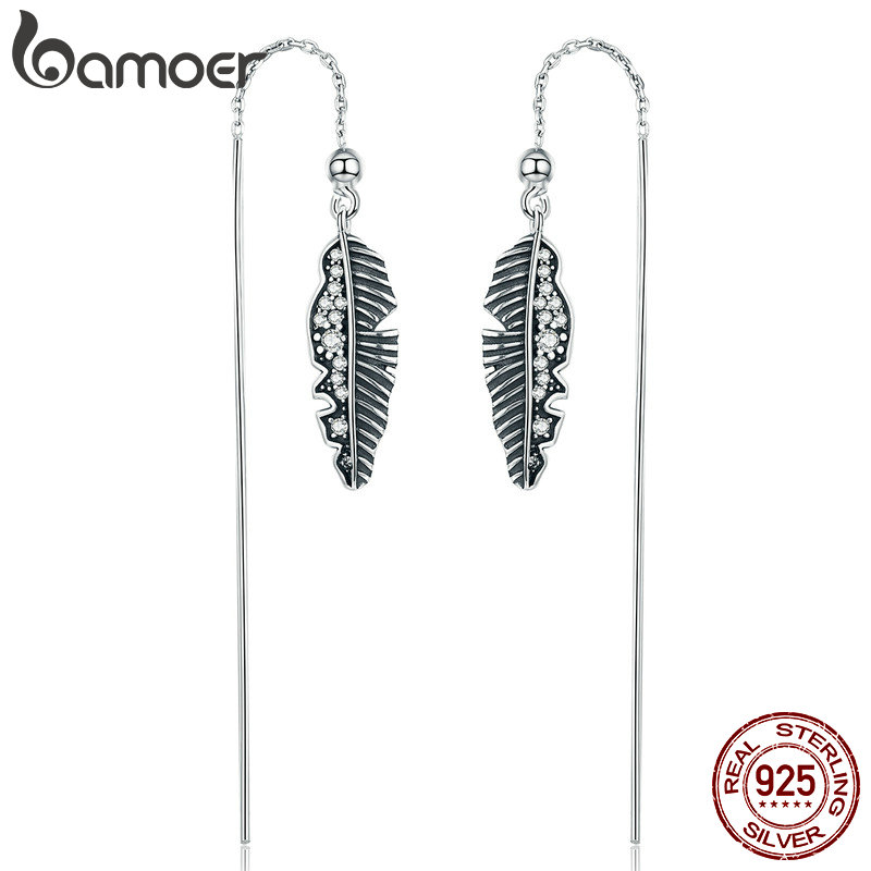 BAMOER 100% 925 Sterling Silver Vintage Punk Feather Palm Leaves Long Drop Earrings for Women Earrings Jewelry Brincos SCE281 pair of chic rhinestone long style feather earrings for women