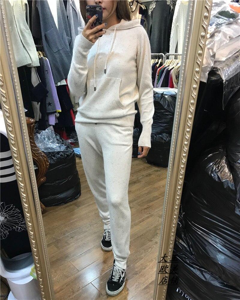 2017 winter 2 piece set women warm knit cashmere fashion two piece set hooded sweater feet Mla winter style fashion set