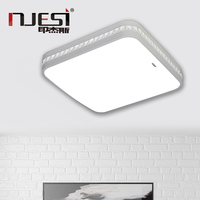 Crystal Beads Led Ceiling Lights Laser Cutting Type Modern White Ceiling Lamps Square Shaped With Warm