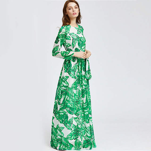 placeholder 2018 Autumn Women Maxi Dress Green Tropical Print Long Sleeve  Sashes Dress Fashion Big Size Vacation 904132262e45
