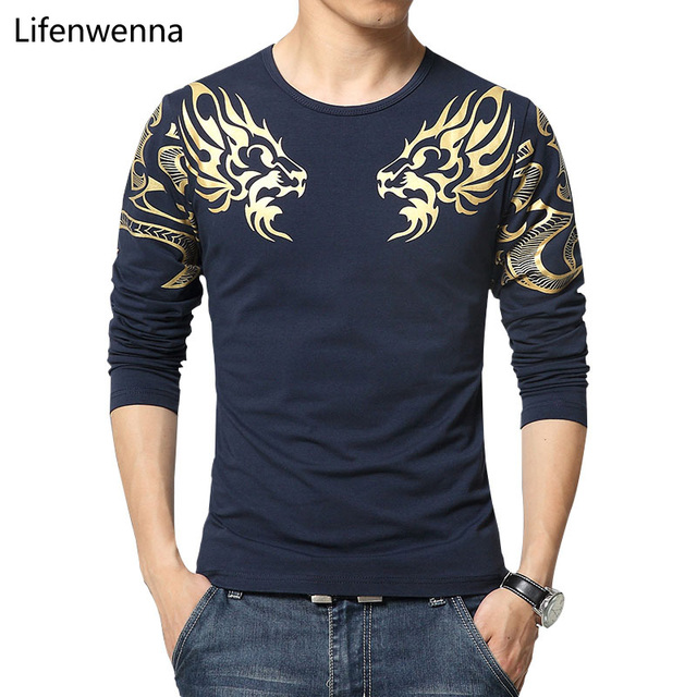 2017 Autumn new high-end men's brand t-shirt fashion Slim Dragon printing atmosphere t shirt Plus size long-sleeved t shirt men
