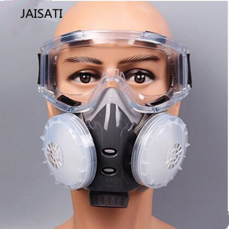 JAISATI Dust Industrial Breathable Coal Mine Polishing mask Anti-fog Haze Sealed Anti-dust Gas Paint Pesticide Mask jaisati gas mask for paint 7suits dust filter spray half face mask anti fog haze masks pesticide formaldehyde particles