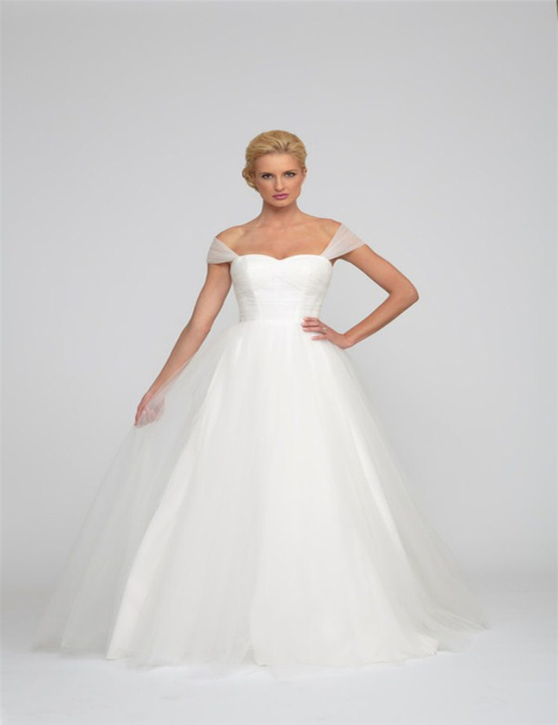 design simples wedding dress plain tulle with straps vestidos de novia casamento novia princess debutante robe