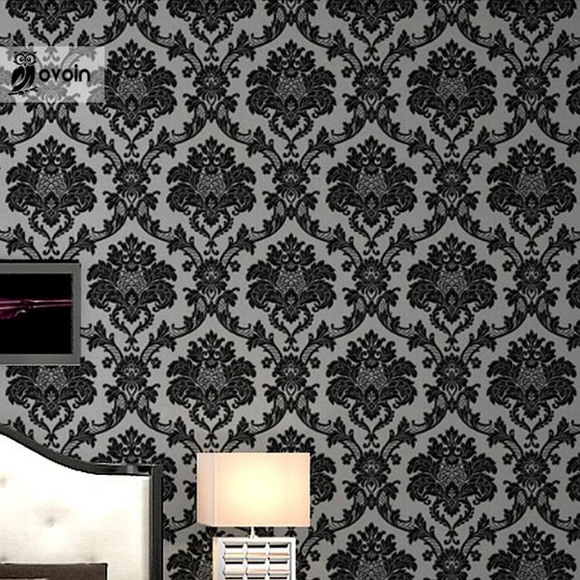 Victorian Modern Vinyl Black Silver Damask Wallpaper Classic
